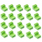 3-Pin Curved Screw Terminal Block Connectors - Green (20-Piece Pack)