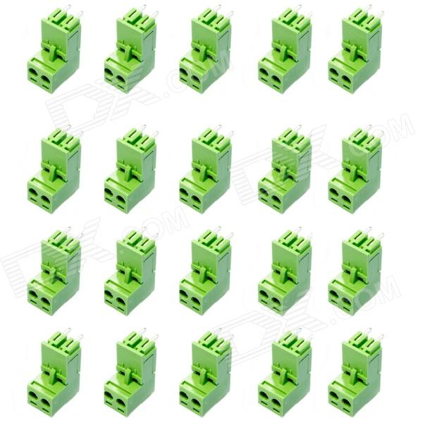 2-Pin Curved Screw Terminal Block Connectors - Green (20-Piece Pack) 300v 10a 3 pin screw terminal block connector w cover 12 piece pack