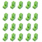 2-Pin Curved Screw Terminal Block Connectors - Green (20-Piece Pack)
