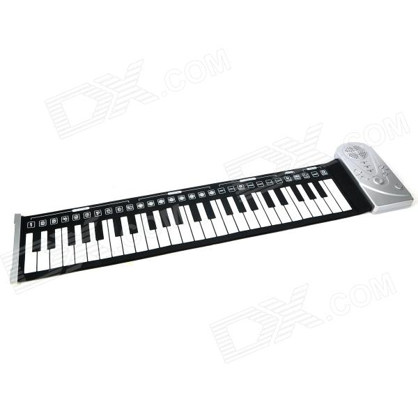 Portable Roll-up 49-Key Soft Silicone Keyboard Piano - Black + White