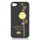 #100 Rose Pattern Protective PC Back Case for Iphone 4 / 4S - Yellow + Black