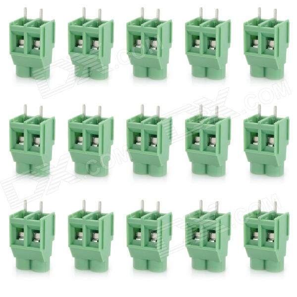 20076 6.35mm 2-Pin PCB Screw Terminal Block Connectors - Green (15-Piece Pack) 300v 10a 3 pin screw terminal block connector w cover 12 piece pack
