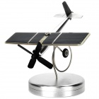 Solar Powered Aircraft Kit with Base - Silver