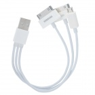 USB to Micro USB + Apple 30-Pin + Samsung Galaxy Tab 30-Pin Sync Data/Charging Cable - White (21cm)