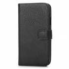 Litchi Pattern Protective PU Leather Hard Case for Samsung i9300 - Black