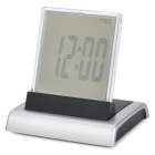 HSD110A Charming Seven-Color Change Alarm Clock w/ Calendar / Thermometer / Music - Silver (3 x AAA)