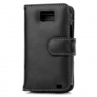 Protective Genuine Leather Flip-Open Case w/ Card Slots for Samsung i9100 - Black