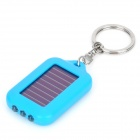 TY005 Solar Powered 3-LED White Light Keychain - Light Blue