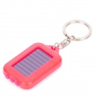 TY001 Solar Powered 3-LED White Light Keychain - Pink