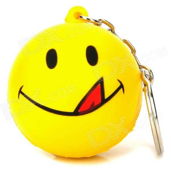 Smiling Face Plastic Ball Style Keychain - Yellow random color ball flamingo round keychain