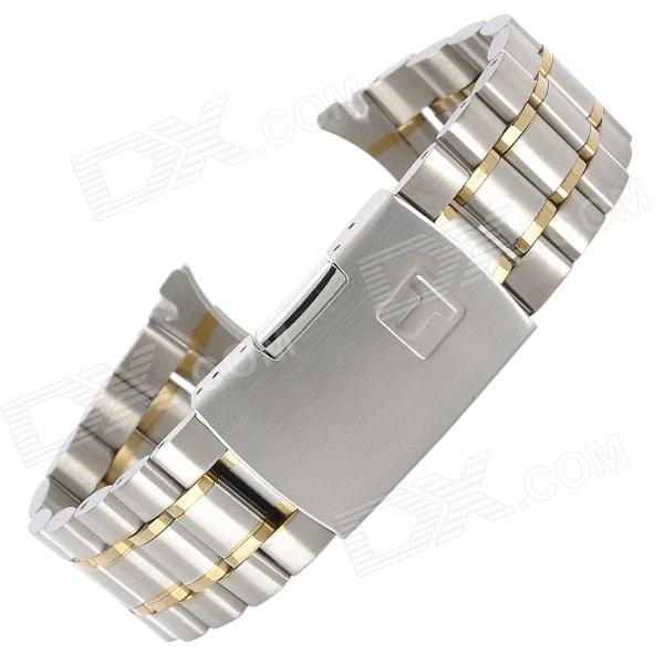 QG-06 22mm Steel Replacement Watch Wrist Band - Silver + Golden (18cm)