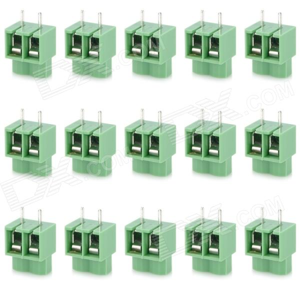 20078 2-Pin PCB Screw Terminal Block Connectors - Green (15-Piece Pack) 300v 10a 3 pin screw terminal block connector w cover 12 piece pack