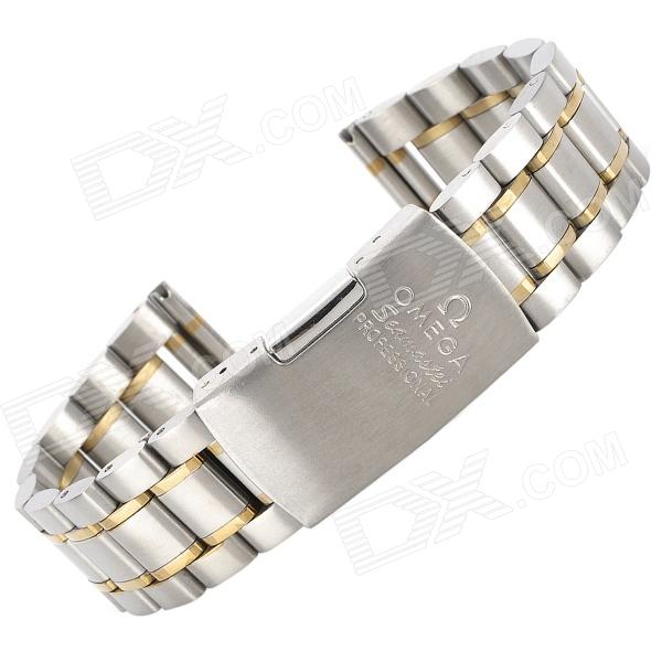 QG-8 20mm Steel Replacement Watch Wrist Band - Silver + Golden (17cm)