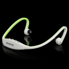 Rechargeable Sports MP3 Player Headphones Headset w/ FM / TF - White + Green