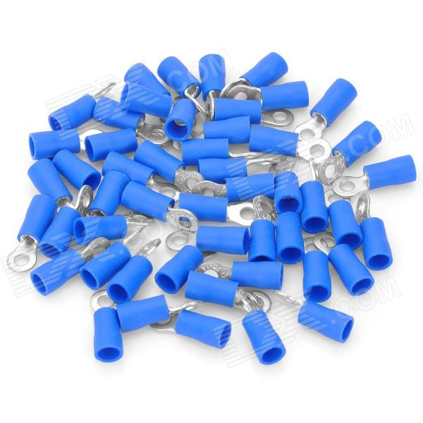 Insulated Ring Copper Terminal Connectors - Blue + Silver (3.2mm / 50-Piece Pack)