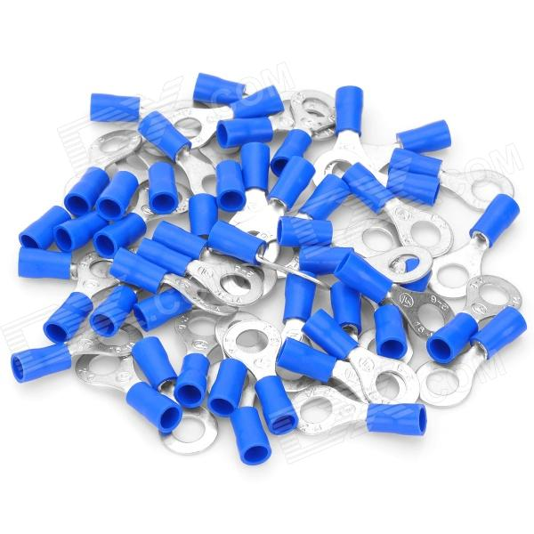 Insulated Ring Copper Terminal Connectors - Blue + Silver (6.4mm / 50-Piece Pack)