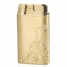 010 Elegant Flower Pattern Metal Butane Gas Lighter - Golden