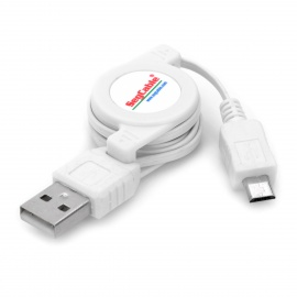 Retractable USB 2.0 Data / Charging Cable with Micro USB Port for Samsung / Motorola / Nokia - White