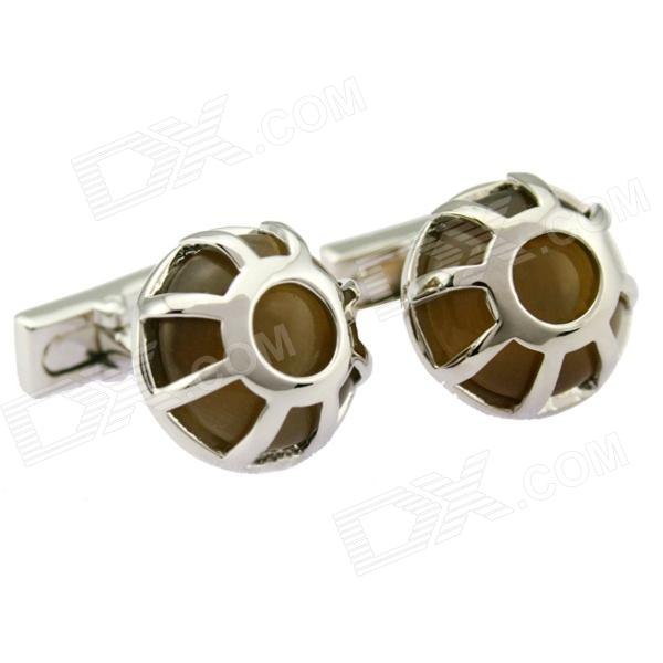 Similar Crown Mesh Pattern Opal Cuff Links for Male - Silver + Brown (2-Piece Pack)