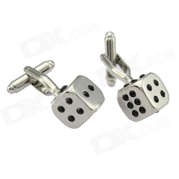 Unique Dice Style Rhinestone Decoration Cuff-links for Men - Silver (2-Piece Pack)