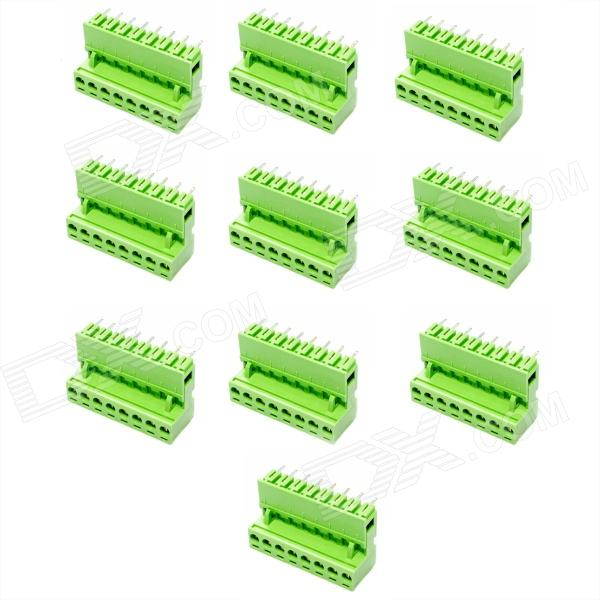 8-Pin Curved Screw Terminal Block Connectors - Green (10-Piece Pack) 300v 10a 3 pin screw terminal block connector w cover 12 piece pack