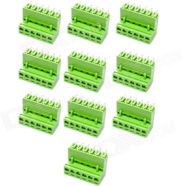 6-Pin Curved Screw Terminal Block Connectors - Green (10-Piece Pack) 300v 10a 3 pin screw terminal block connector w cover 12 piece pack