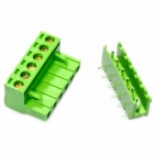 6-Pin Curved Screw Terminal Block Connectors - Green (10-Piece Pack)