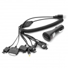Car Cigarette Powered Adapter w/ 10-in-1 USB 2.0 Charging Cable for iPhone / Nokia / Samsung - Black