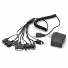 AC Power Adapter w/ 10-in-1 USB 2.0 Charging Cable for iPhone / Nokia / Samsung / LG - Black