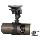 "R300L 2.7"" LTPS 300KP Wide Angle 4-IR Night Vision Dual-Lens Car DVR Camcorder - Dark Green"