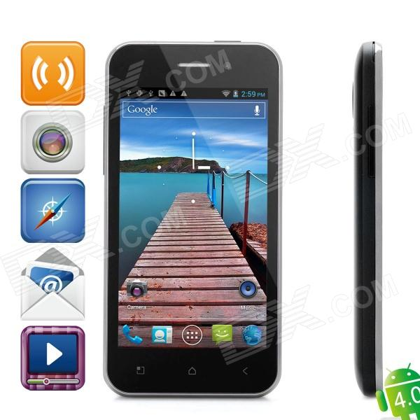 "H8000 Android 4.0 WCDMA Bar Phone w/ 4.0"" Capacitive Screen, GPS, Wi-Fi and Dual-SIM - Black"