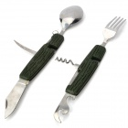 Multi-function Compact Stainless Steel Spoon Fork Set - Army Green