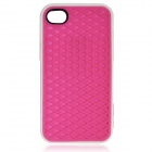 Creative Sole Style Protective Silicone Back Case for iPhone 4 / 4S - Deep Pink + White
