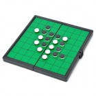 Portable Foldaway Magnetic Reversi - White + Black + Green