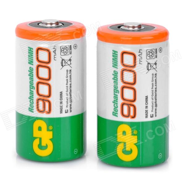 GP Rechargeable 9000mAh 1.2V NiMH D Battery - White + Green (2-Piece Pack)