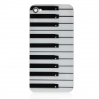 Piano Key Pattern Replacement Tempered Glass Back Cover Housing Case for iPhone 4S - Black