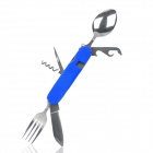 Compact 6-in-1 Multi-function Stainless Steel Spoon Fork Set - Blue