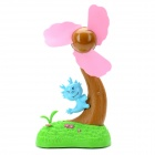 Mini Dragon Climbing Tree Style USB / Battery Powered 3-Blade Fan - Blue + Brown + Pink + Green