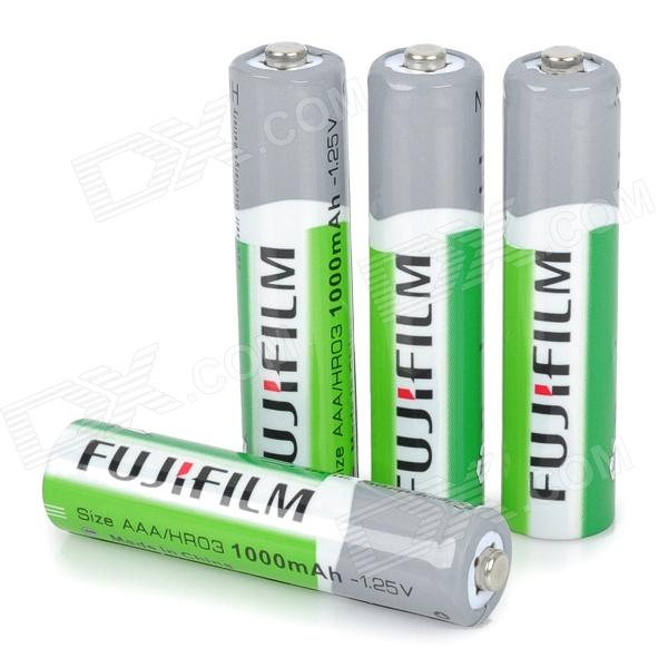 FUJI 1.25V 1000mAh Rechargeable AAA Ni-MH Batteries - White + Green (4-Piece Pack) 8pcs pkcell battery aaa pre charged nimh 1 2v 1200mah ni mh 3a rechargeable batteries up to 1000mah capacity cycle 1200times