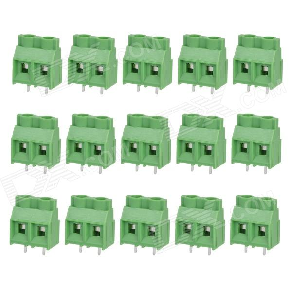 2-Pin Screw Style PCB Terminal Blocks - Green + Silver (15-Piece Pack)