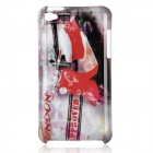 Motorcycle Pattern Protective PC Back Case for Ipod Touch 4 - Red + White