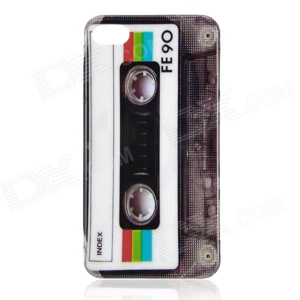 купить Retro Cassette Tape Style Protective PC Back Case for Iphone 4 / 4S - White + Grey недорого