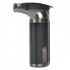 Portable 1300'C Stainless Steel Butane Jet Torch Lighter - Black + Grey