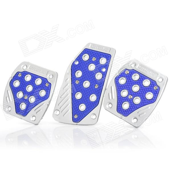 Cool Plastic Car Pedals for Brake / Clutch / Accelerator - Silver + Blue (3-Piece Set)