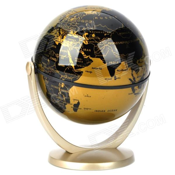 100mm English Language Rotation Universal World Globe - Black + Golden