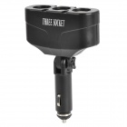 Triple Car Cigarette Sockets Power Adapter - Black (DC 12~24V)