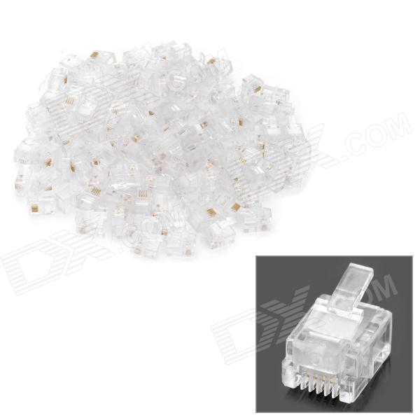 RJ11 6P4C Modular Plug Telephone Connectors - White (100-Piece Pack) аксессуары для телефонов fk rj11 6p4c adsl splitter filter