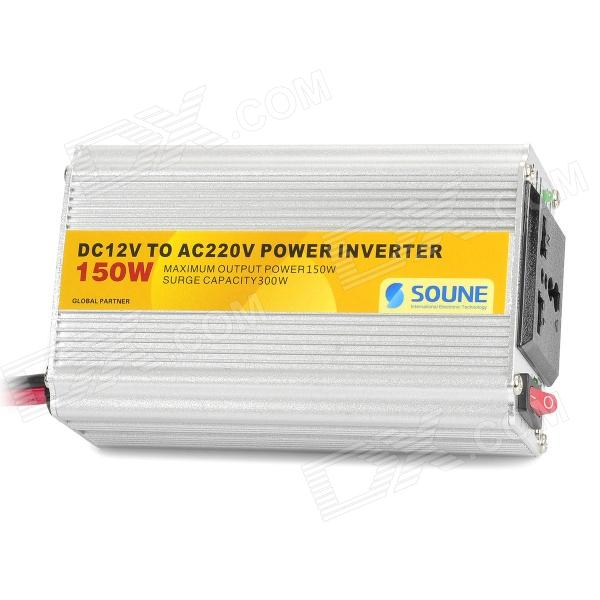 SOUNE 150W Car DC 12V to AC 220V Power Inverter w/ USB Output - Silver