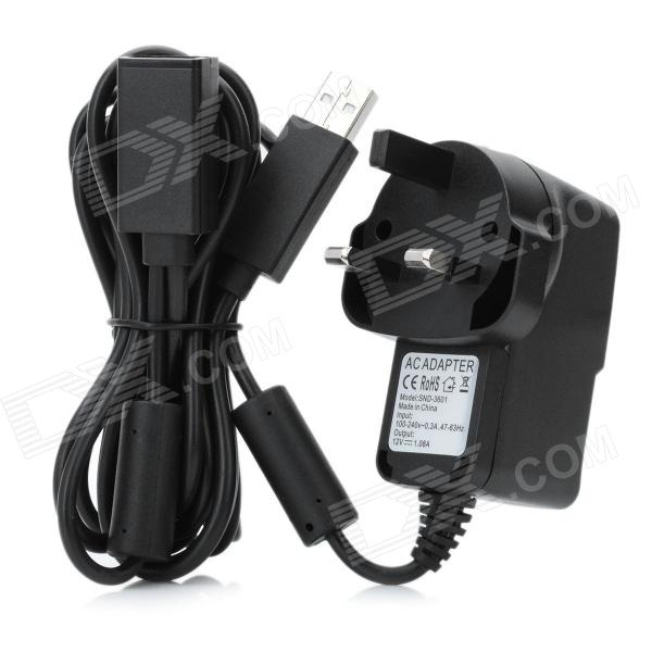 AC Power Adapter for Xbox 360 Kinect Sensor - Black (AC 100~240V / UK Plug) ac adapter power supply for xbox 360 kinect sensor us plug 100 240v