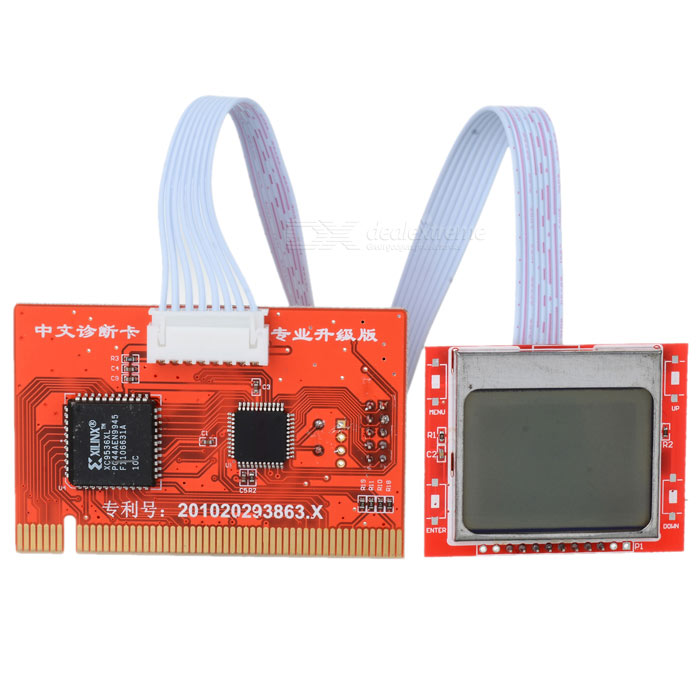 PTi8 Mini PCI-E / Mini PCI / LPC Motherboard Diagnostic Card w/ Dual 1.7 LCD Display - Red + Black